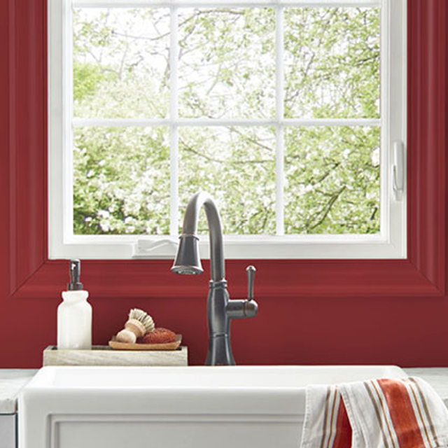 Kitchen painted in HAUTE RED