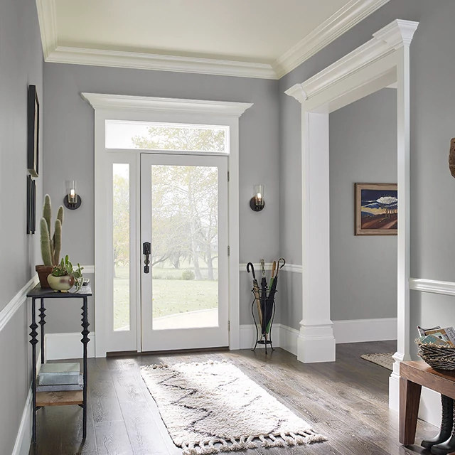 Foyer painted in LAVENDER GRAY