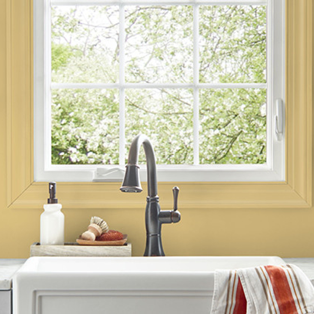 Kitchen painted in CANARY SONG