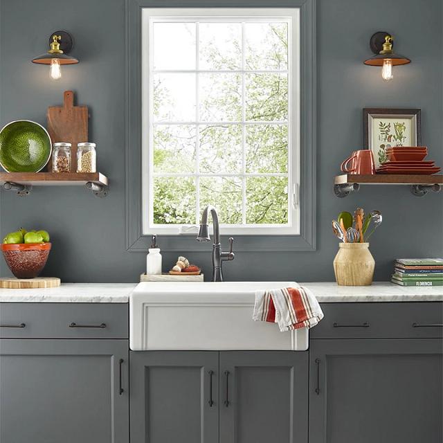 Kitchen painted in TYPEWRITER
