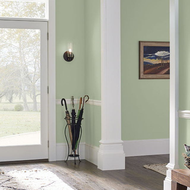 Foyer painted in SUBTLE CELERY