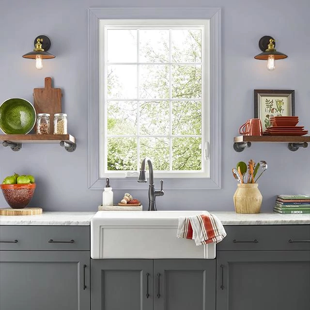 Kitchen painted in HAZY PURPLE