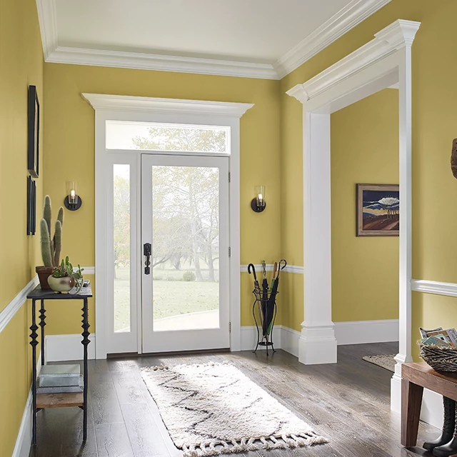 Foyer painted in FRESH AVOCADO