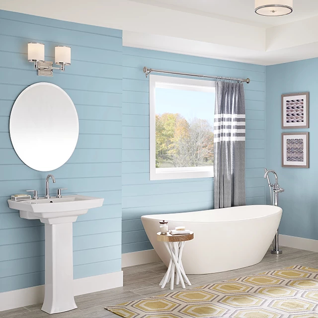 Bathroom painted in QUIET BLUE