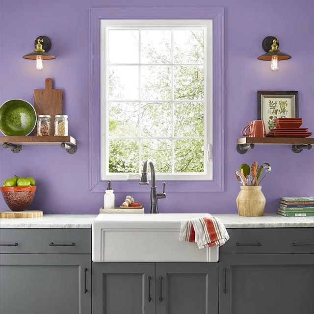 Kitchen painted in BELLADONA