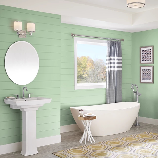 Bathroom painted in WILD LETTUCE