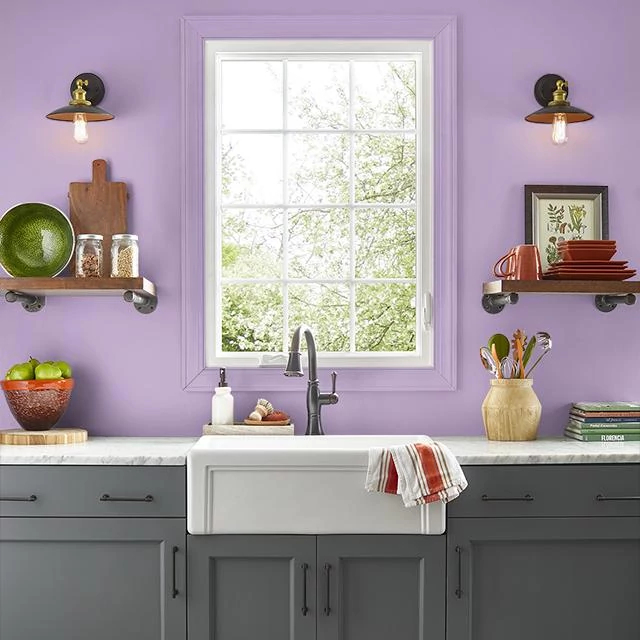 Kitchen painted in FRUIT PUNCH