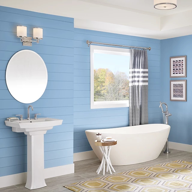 Bathroom painted in BLUE HYDRANGEA