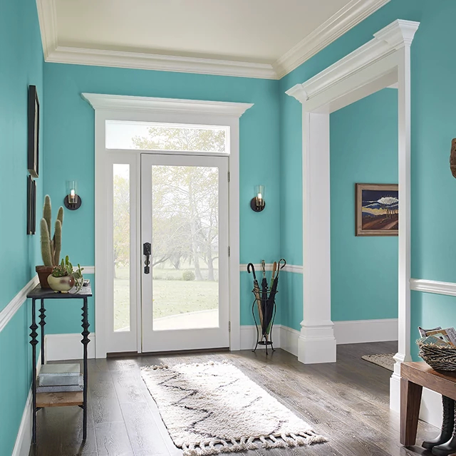 Foyer painted in DEEP TURQUOISE