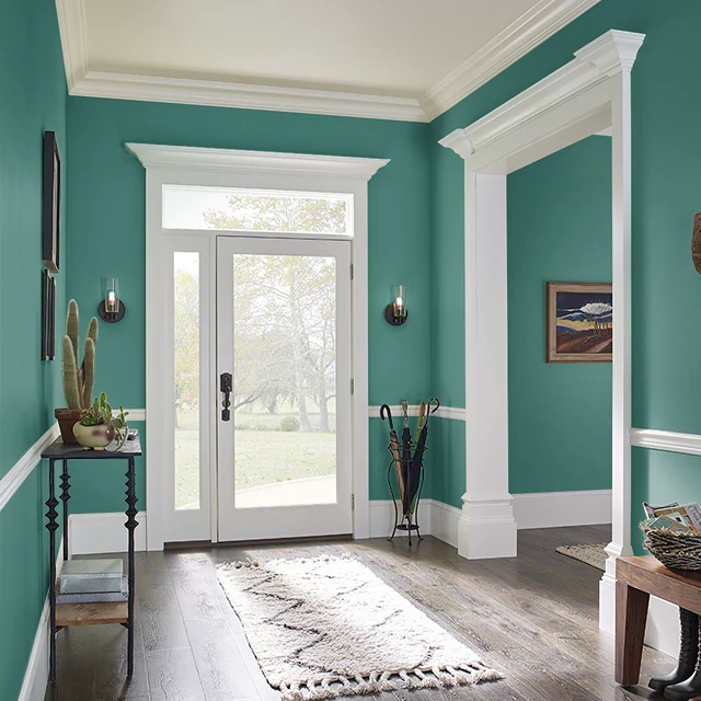 Foyer painted in TEAL GREEN