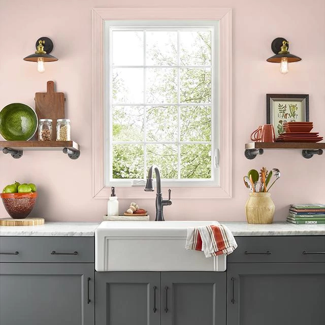 Kitchen painted in CAMEO CORAL