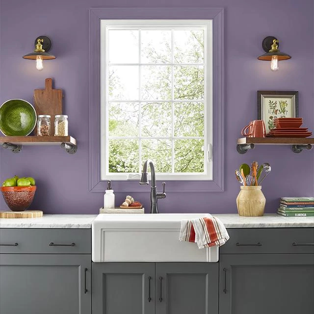 Kitchen painted in REGAL PURPLE