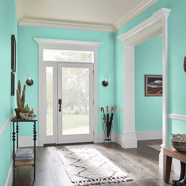 Foyer painted in POLISHED TURQUOISE