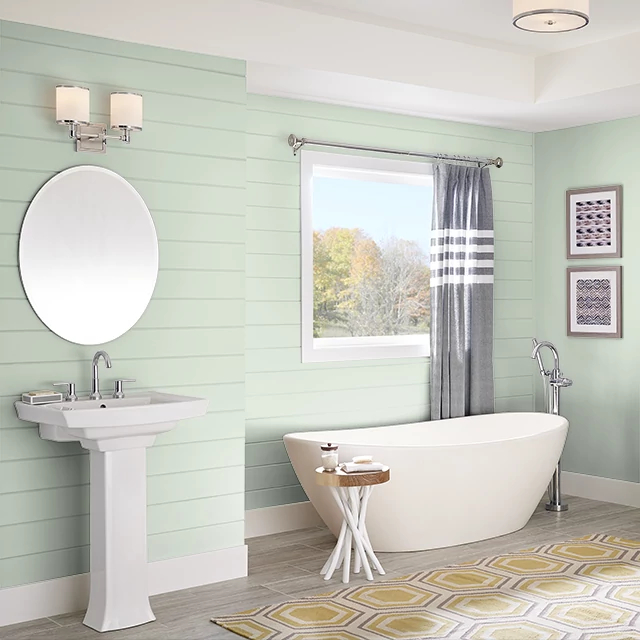 Bathroom painted in SEAFOAM BLANKET