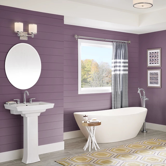 Bathroom painted in GYPSY PLUM