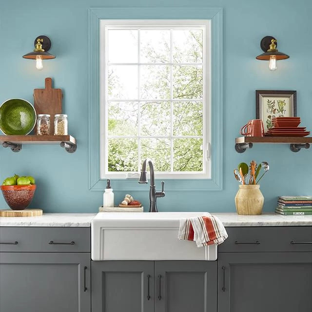 Kitchen painted in BLUE SAGE