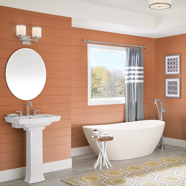 Bathroom painted in HOT AUGUST
