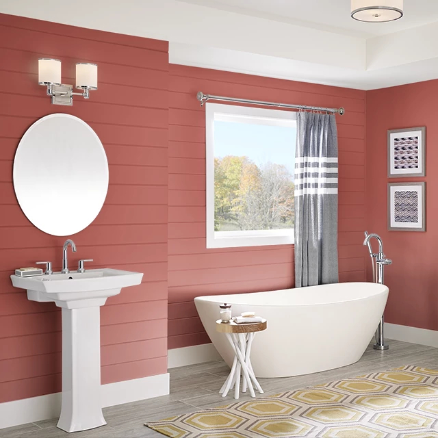 Bathroom painted in RED FLARE