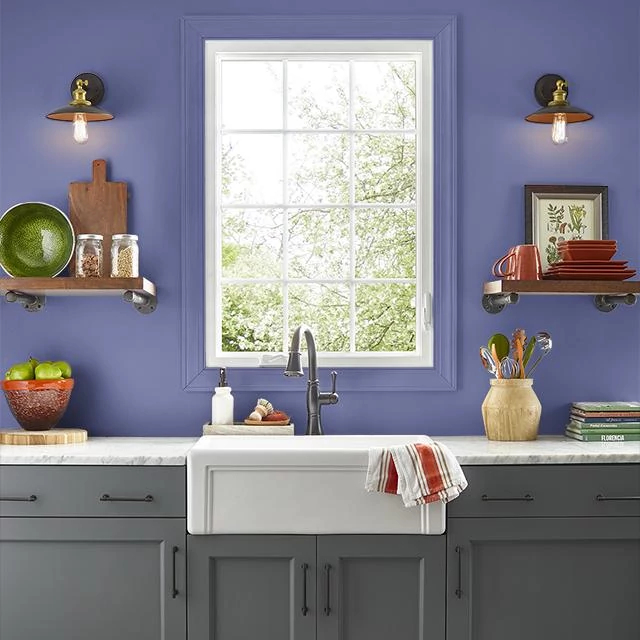 Kitchen painted in GRAPE BEGINNINGS