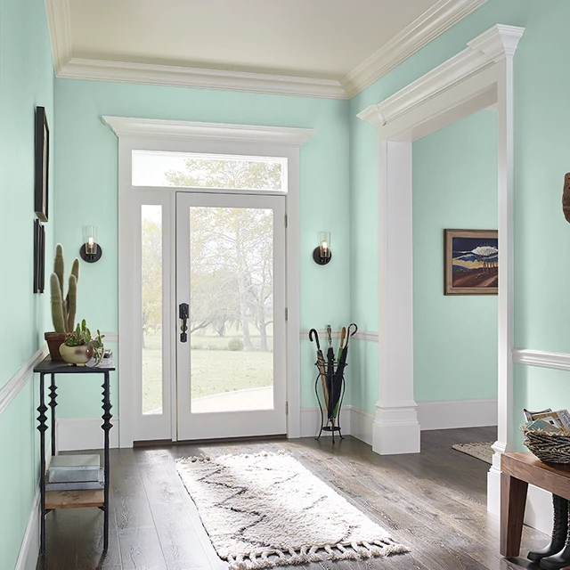 Foyer painted in JADE SEA