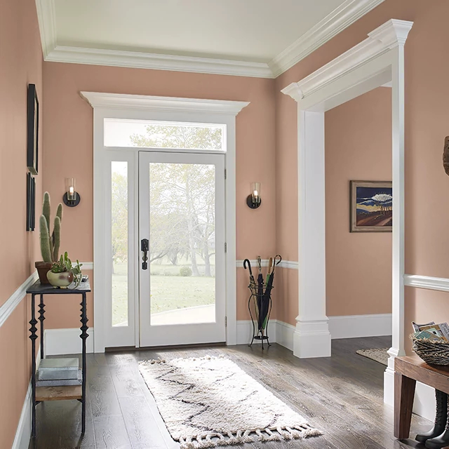 Foyer painted in SPICED APRICOT