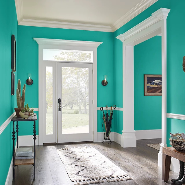 Foyer painted in DEEP TEAL