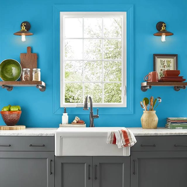 Kitchen painted in HERO BLUE