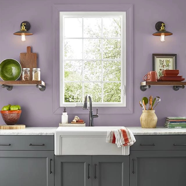 Kitchen painted in PLUM NOTION