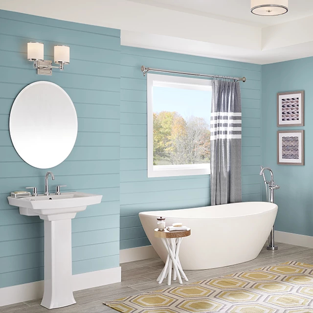 Bathroom painted in INTRICATE AQUA