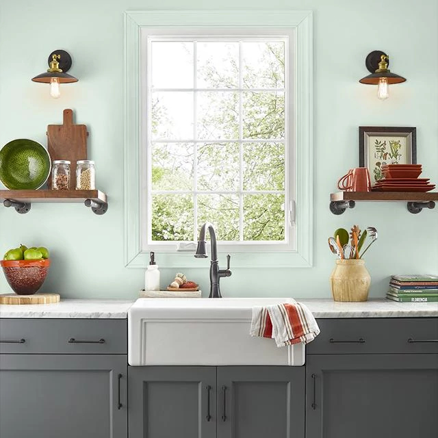 Kitchen painted in CREAMY MINT