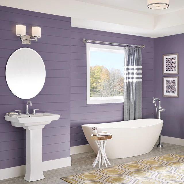 Bathroom painted in REGAL PURPLE