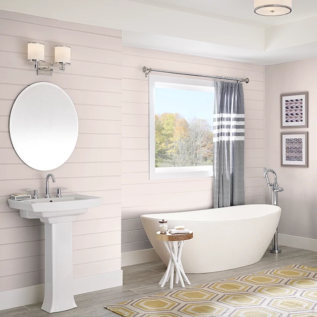 Bathroom painted in PEACH GLAMOUR
