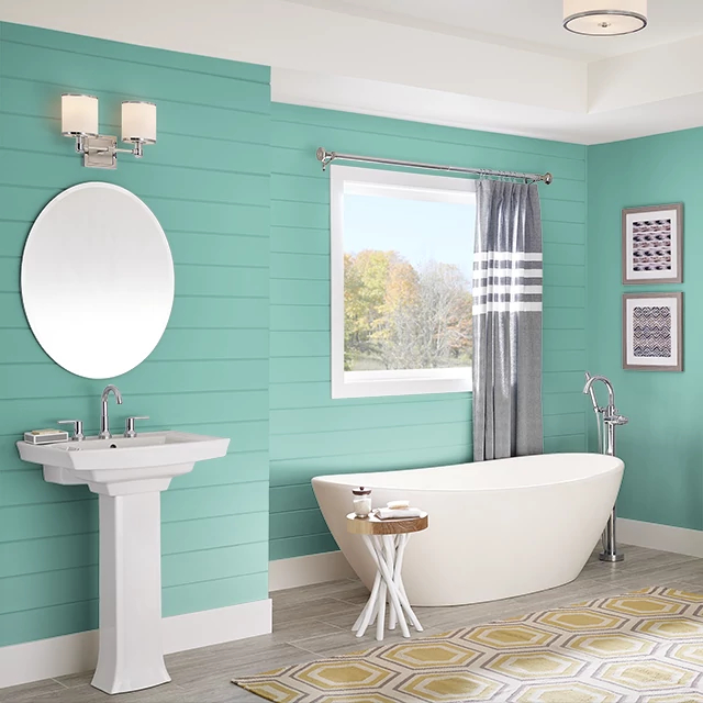 Bathroom painted in SPEARMINT LEAF