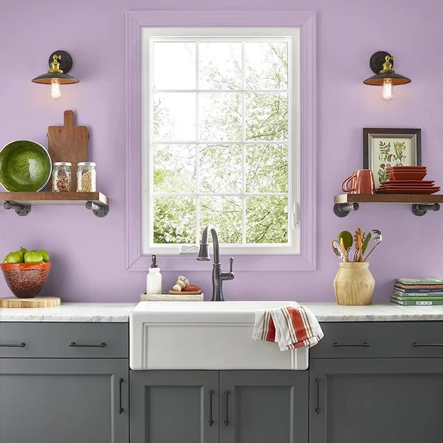 Kitchen painted in FASHION PINK
