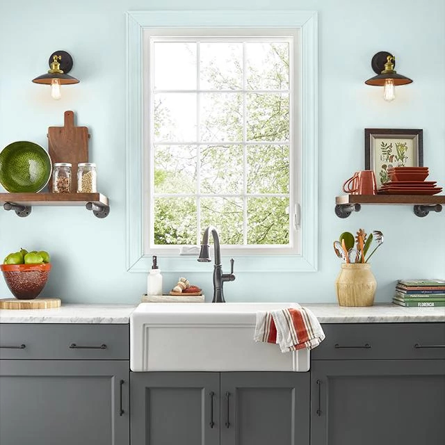 Kitchen painted in DREAMY HEAVEN