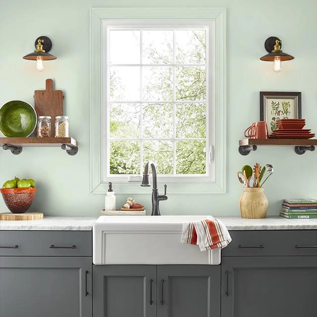 Kitchen painted in SEAFOAM BLANKET