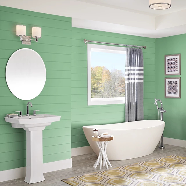 Bathroom painted in WHEATGRASS