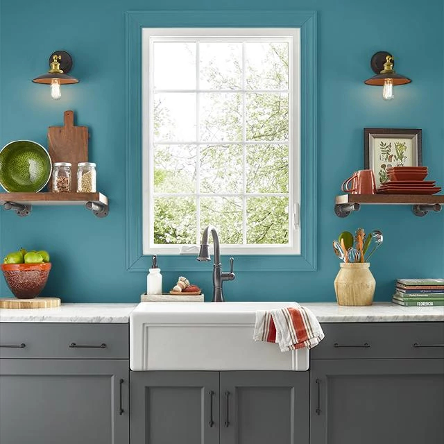 Kitchen painted in BASIC TEAL