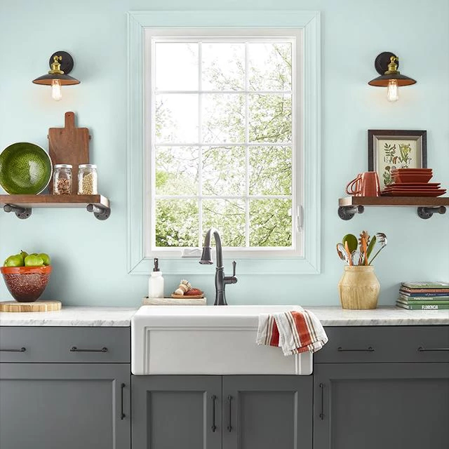 Kitchen painted in SEA GLASS