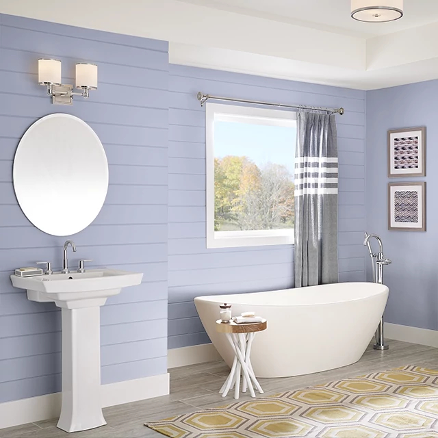 Bathroom painted in HUSH LILAC