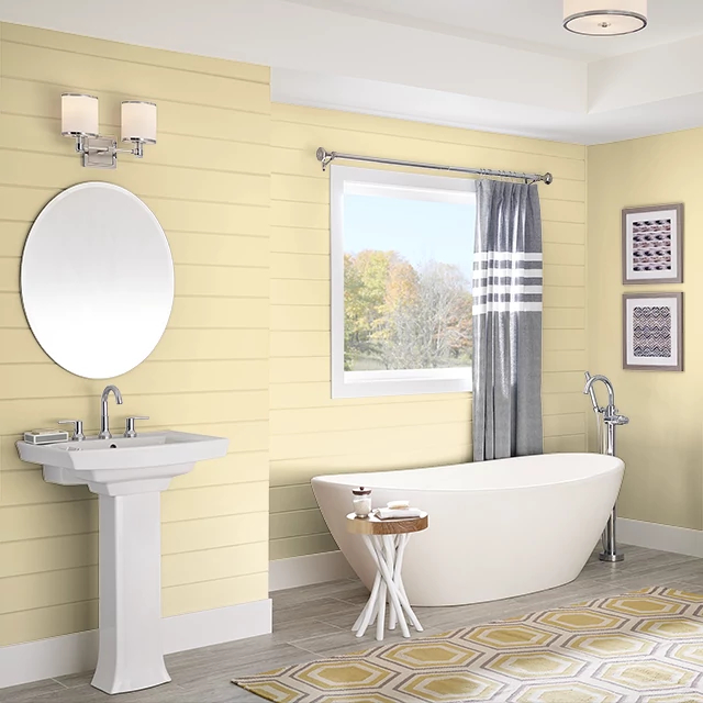 Bathroom painted in YELLOW FROSTING