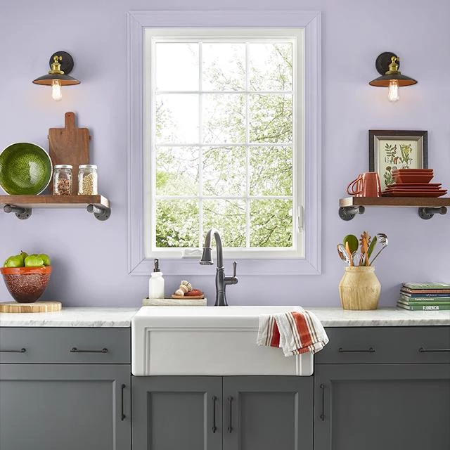 Kitchen painted in BOYSENBERRY CREAM