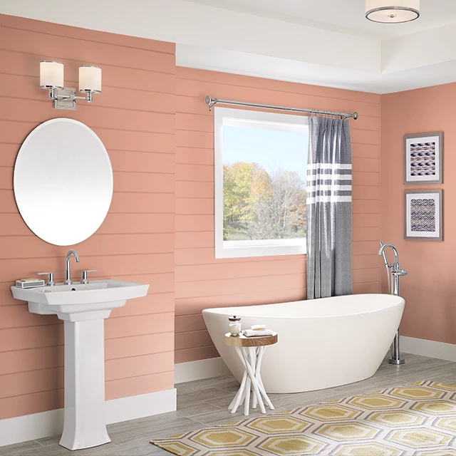 Bathroom painted in SWEET PAPAYA