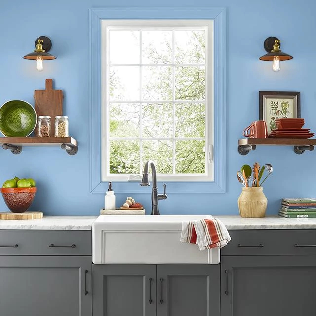 Kitchen painted in BLUE HYDRANGEA