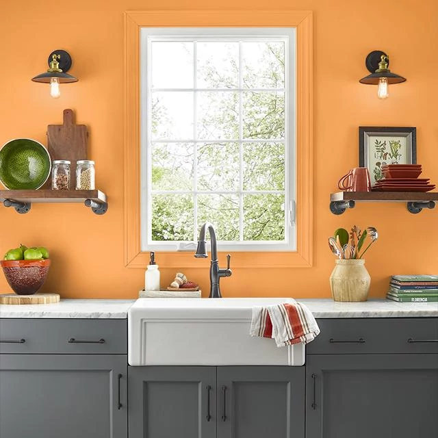 Kitchen painted in BITTERSWEET ORANGE