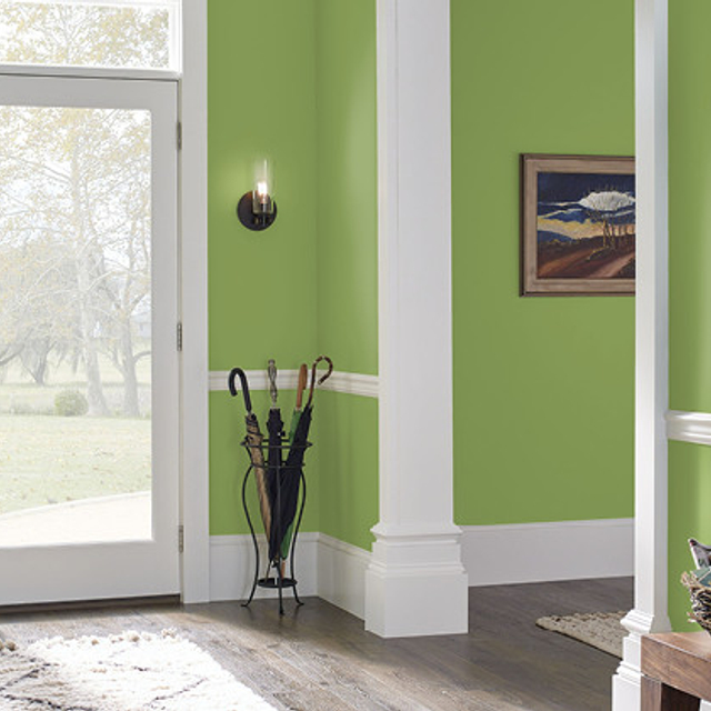 Foyer painted in LUSH GREEN