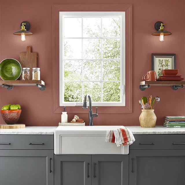 Kitchen painted in RAW CLAY