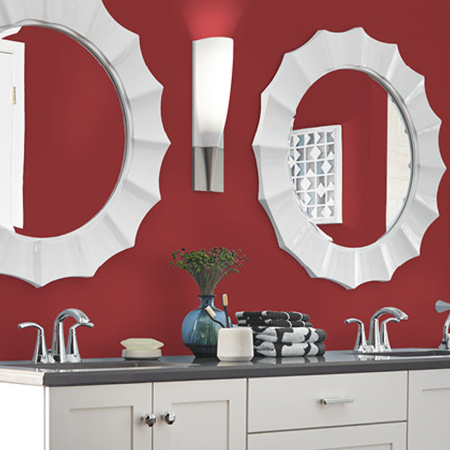 Bathroom painted in HAUTE RED