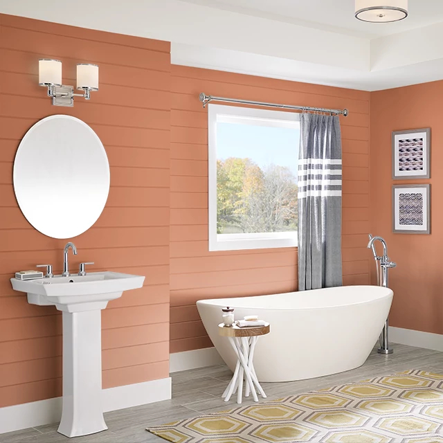 Bathroom painted in PERUVIAN ORANGE