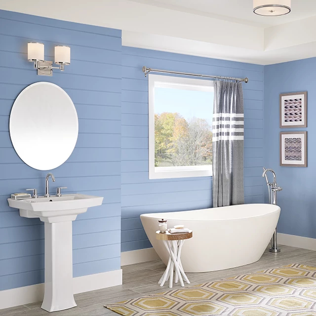 Bathroom painted in NEVER BLUE